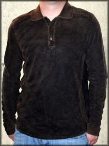 Kowboys Spade Long Sleeve Mens Polo Shirt in Black - ONLY SIZE SMALL LEFT