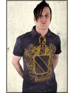 Pollution Clothing Coat Of Arms Medieval Mens Short Sleeve Polo Shirt in Washed Out Black