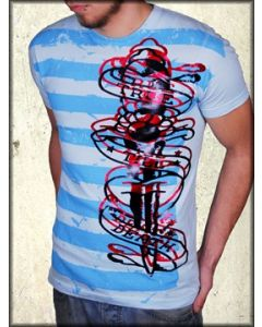 United Rockers Striped Foil Dagger Vintage Tattoo Mens Short Sleeve T-Shirt in Blue - ONLY SIZE XL LEFT