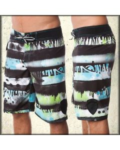 Lost Dysfuntional Striped Abstract Paint Splatter Punk Rock Womens Mens Unisex Board Shorts in Black & Lime Green - ONLY SIZES 24 & 26 LEFT