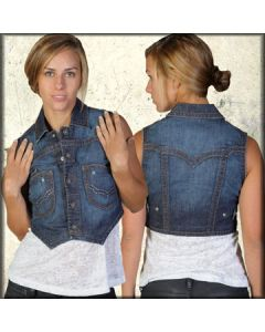 Indian Rock Culture Dakota Silver Stitch Womens Cropped Denim Vest  in Indigo Blue Wash