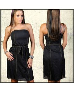 Thorn Chromelle Designer Couture Metal Bead Hand Made Womens Strapless Dress in Black
