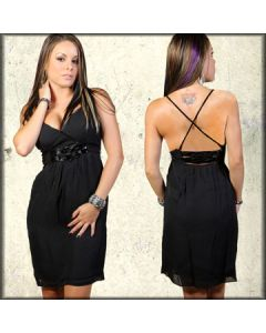 Thorn Glorioso Designer Couture Patent Strap Belt Hand Made Womens Halter Dress in Black