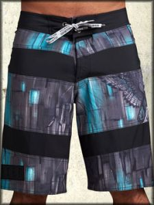 Remetee Eagle Wings Black Stripes Bold Texture Tonal Graphics Mens Board Shorts in Charcoal Grey Blue & Black Stripes - UP TO SIZE 38 LEFT