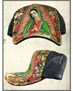 RNR Couture Our Lady of Guadalupe Virgin Mary Portrait Religious Rhinestone Trucker Snapback Hat in Black