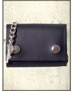 Hard Wear Chrome Metal Chain Snap Front Genuine Leather Wallet in Black