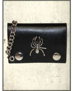 Hard Wear Chrome Spider and Metal Chain Snap Front Genuine Leather Wallet in Black
