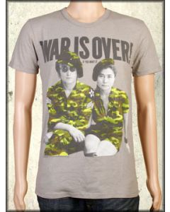 Trunk LTD War Is Over John Lennon Yoko Ono Mens Short Sleeve T-Shirt in Granite Grey