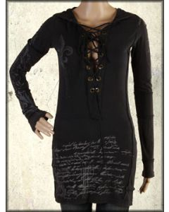 Bejeweled Dust Script Filigree Corset Lace Up Metal Grommets  Womens Long Sleeve Tunic Hoodie Top in Black - SIZE SMALL LEFT
