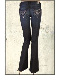 We The People Hollywood Heart Angel Wings Swarovski Rhinestone Womens Bootcut Leg Denim Jeans in Midnight Blue Calcified Wash