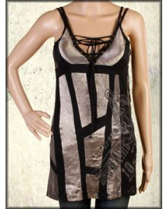 Salvage Dorchester Corset Tie Front Metal Grommets Womens Deep V-Neck Tank Top or Halter Mini Dress in Bronze Satin & Black Patchwork