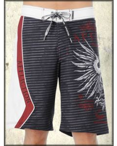 Affliction GSP George St Pierre Signature MMA UFC Eagle Warbird Medieval Mens Board Shorts in Black & White Stripes - SIZE 32 LEFT