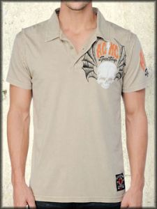 Affliction American Customs Liberty Skull Bat Wings Mens Short Sleeve Polo Shirt in Sand Lava Wash