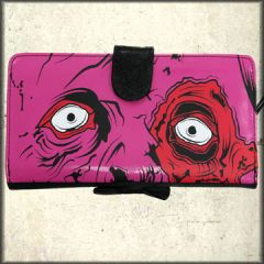 Iron Fist Gold Digger Skeleton Skull Monster Pop Art Womens Large Wallet Clutch Purse in Pink and Black Pleather