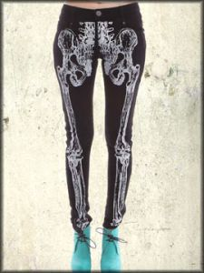 Iron Fist Wishbone Skeleton Ribcage X-Ray Womens Stretch Skinny Jeans in Black - Up To Size 34