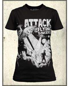 MonsterVision Attack Flying Saucer UFO Science Fiction Comic Art Womens Short Sleeve T Shirt in Black - UP TO XXL