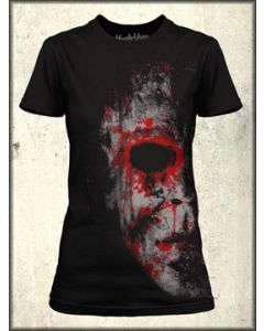 MonsterVision Myers Face Halloween Mask Monster Horror Comic Style Art Womens Short Sleeve T Shirt in Black - UP TO XXL
