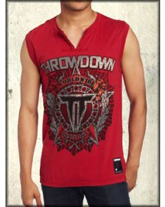 Throwdown Astro Star Wreath Foil Emblem MMA UFC Athletic Fitness Mens V-Neck Tank Top Sleeveless Shirt in Red - SIZE SMALL LEFT