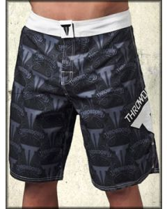 Throwdown Royal To Fight Grey Emblem UFC MMA Athletic Fitness Mens Board Shorts in Black - SIZES 28 38 40 LEFT