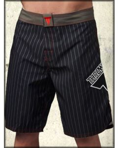 Throwdown Pinner Stripes Emblem UFC MMA Athletic Fitness Mens Board Shorts in Black and Grey Pinstripes - SIZE 28 LEFT