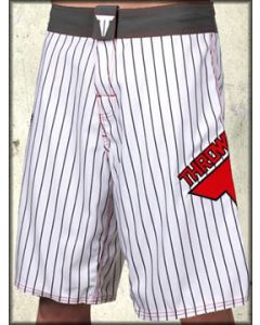 Throwdown Pinner Red Logo UFC MMA Athletic Fitness Mens Board Shorts in White & Black Pinstripes - SIZES 28 38 40 LEFT