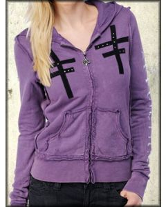 Affliction Rotate Skull Skeleton Keys Floral Womens Long Sleeve Zip Up Hoodie in Purple Lava Wash - ONLY SIZE SMALL LEFT