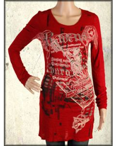 Salvage Ravensburg Skeleton Key Medieval Art Rhinestones Womens Long Sleeve Top or Dress in Red