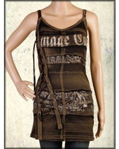 Salvage Damage Case Distressed Print Metal Grommets Corset Lacing Womens Halter Dress or Top in Brown Gravel Wash