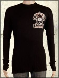 Motor City Legends Burning Skull Crossbones MCL Banner Swarovski Crystals Rhinestones Mens Long Sleeve Thermal Shirt in Black - SIZE MEDIUM ONLY