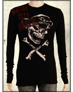 Motor City Legends MC Rock Skeleton Guitar Player Mens Long Sleeve Thermal Shirt in Black - SIZE SMALL ONLY