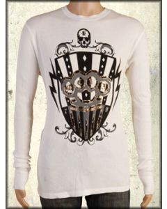 Motor City Legends Brass Knuckles Skull Shield Bullets Mens Long Sleeve Thermal Shirt in Vintage White - ONLY SIZE SMALL LEFT