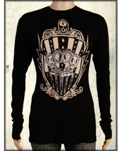 Motor City Legends Brass Knuckles Skull Shield Bullets Mens Long Sleeve Thermal Shirt in Black - Size Small Left