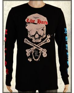 Motor City Legends Union Jack Skull Crossbones Shield Foil Mens Long Sleeve Thermal Shirt in Black - ONLY SIZE XL LEFT