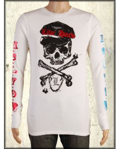Motor City Legends Union Jack Skull Crossbones Shield Foil Mens Long Sleeve Thermal Shirt in Vintage White