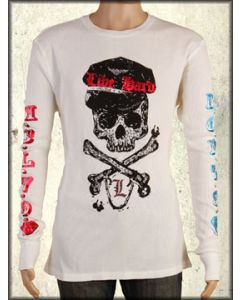 Motor City Legends Union Jack Skull Crossbones Shield Swarovski Crystals Rhinestones Mens Long Sleeve Thermal Shirt in Vintage White