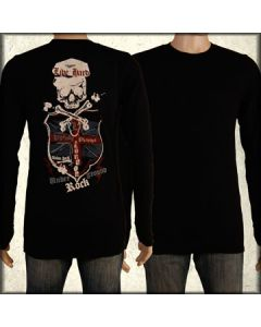 Motor City Legends Union Jack Skull Crossbones Shield Swarovski Crystals Rhinestones Mens Long Sleeve Thermal Shirt in Black