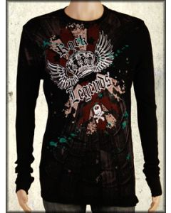 Motor City Legends Rock Legends Winged Crown Skull Mens Long Sleeve Thermal Shirt in Black - ONLY SIZE SMALL LEFT