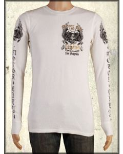 Motor City Legends Flying Machine Winged Skulls Engine Mens Long Sleeve Thermal Shirt in Vintage White