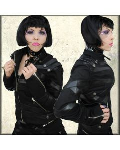 Nocturnal Goth Punk Strapped Faux Leather Weave Zippers Rivets Buttons Military Womens Zip Front Snap Collar Jacket in Black - SIZES XS-XXL