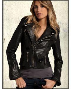 LA Rockers Biker Faux Leather Motorcycle Moto Style Womens Zip Front Jacket in Black