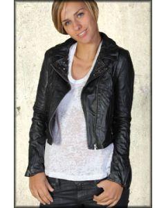 LA Rockers Studded Biker Faux Leather Motorcycle Moto Style Womens Zip Front Jacket in Black
