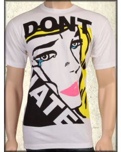 Rock Icon Dont Hate Womans Face Pop Art 80s Inspired Mens Short Sleeve T-Shirt in White - ONLY SIZE LARGE LEFT