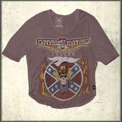 Trunk LTD Lynyrd Skynyrd Legend Album Art 1977 Womens 3/4 Sleeve Dolman Shirt in Pewter Grey