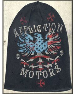 Affliction American Customs Patriot Winged Eagle American Flag Stars Stripes Reversible Beanie Hat in Black and Red