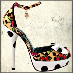 Iron Fist Lounge Days Leopard Animal Print Polka Dot Roses Skull Charms Womens  Ankle Strap Platform Pumps in White