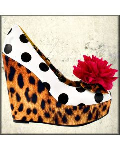Iron Fist Lolita Love Leopard Print Polka Dot Detachable Rose Womens Platform Wedge Shoes in White