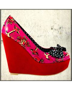 Iron Fist Love Me Now Anchors Roses Nautical Tattoo Womens Platform Wedge Shoes in Pink and Black