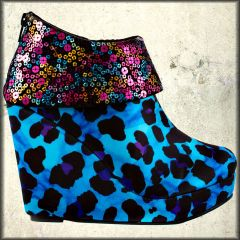 Iron Fist Treasure Box Leopard Animal Print Beaded Sequins Trim Womens Platform Ankle Boots in Turquoise Blue and Black