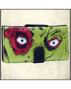 Iron Fist Zombie Stomper Skeleton Skull Monster Pop Art Womens Large Wallet Clutch Purse in Green and Black Pleather