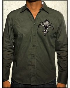 Rebel Spirit Flight Feather Wings Tribal Mens Long Sleeve Button Up Dress Shirt in Army Green - SIZE MEDIUM